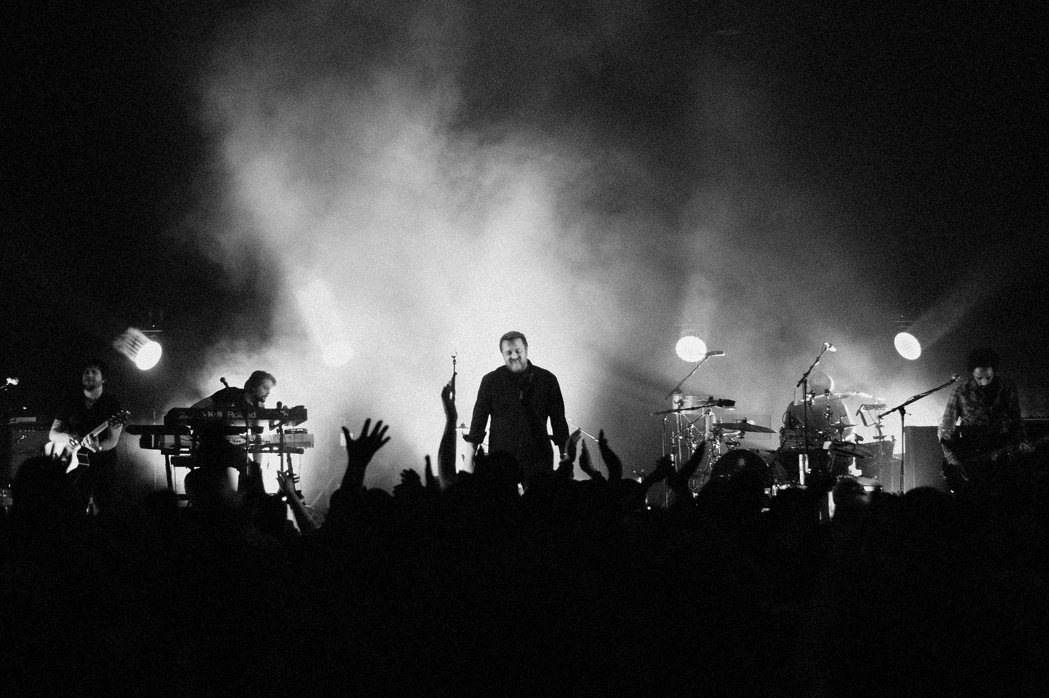 Elbow perform a gig live on stage in London.