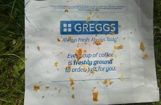 greggs wrapper crumbs bag