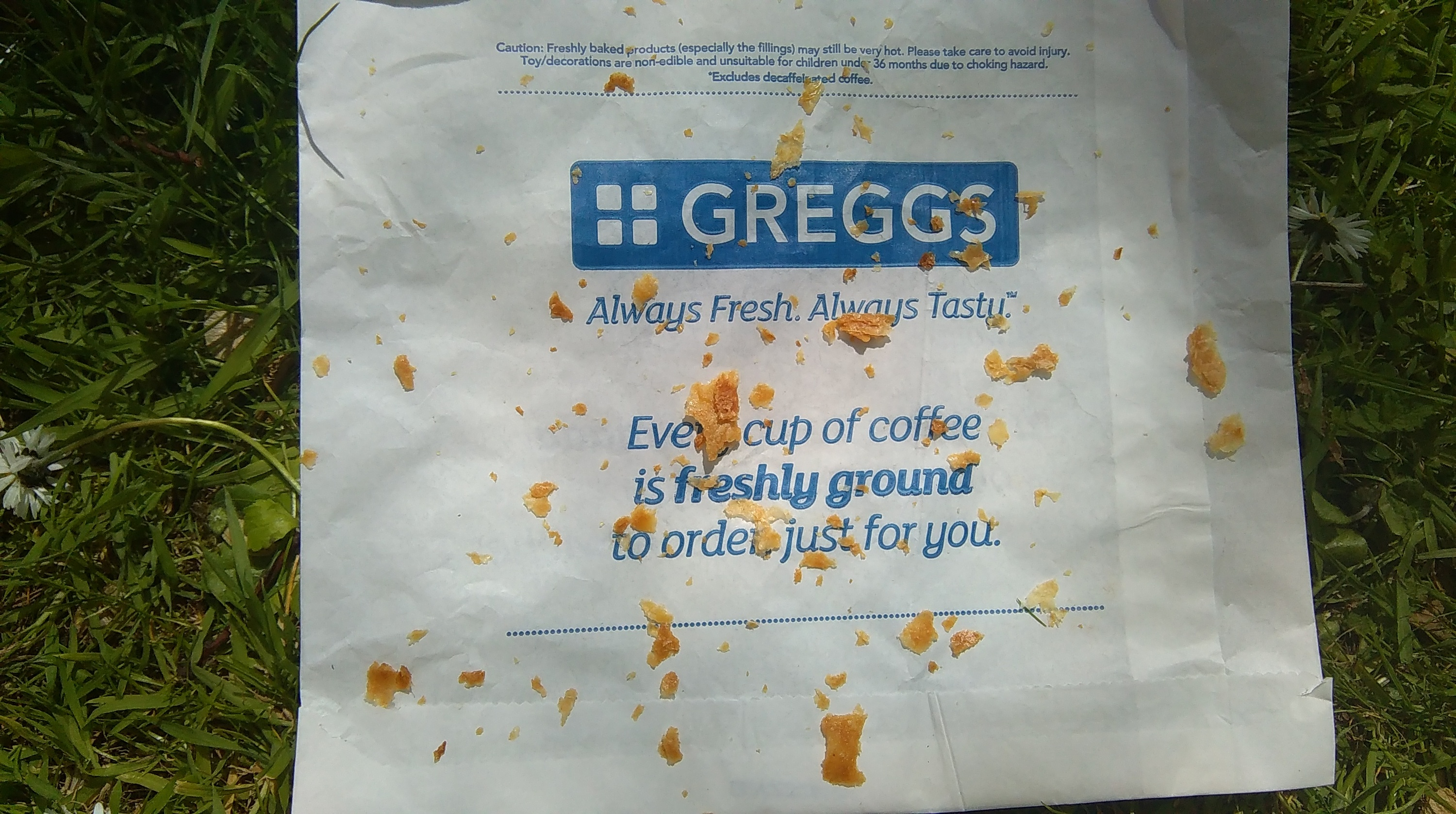 greggs wrapper crumbs bag
