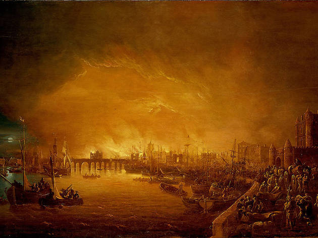 (Painting of 'The Fire of London, September 1666' © National Maritime Museum, London)