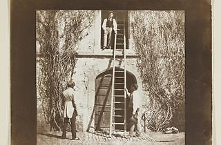 The Ladder, salt print from a calotype negative: Plate XIV from Talbot's Pencil of Nature, the first book to be illustrated with photographs, 1844-46.