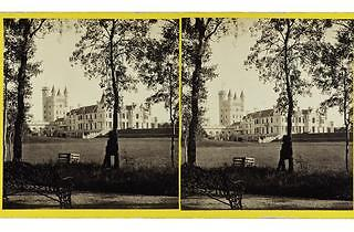 'Balmoral Castle from the N.W', 1863, by George Washington Wilson, Aberdeen, stereo albumen prints from a wet collodion negative.