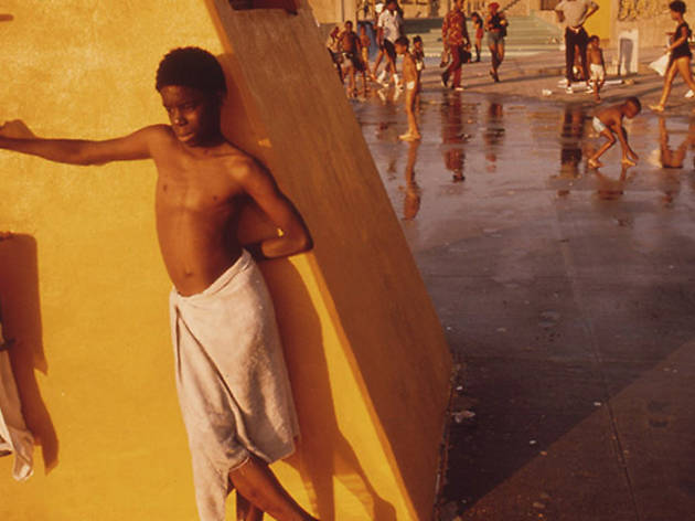 1970, Boy Against a Yellow Platform at the Kosciusko Swimming Pool in Bed-Stuy