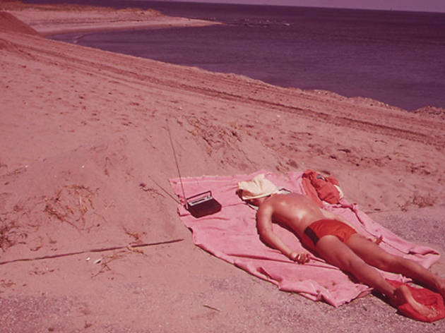 May 1973, Lifeguard Takes a Sunbath at Great Kills Park on Staten Island