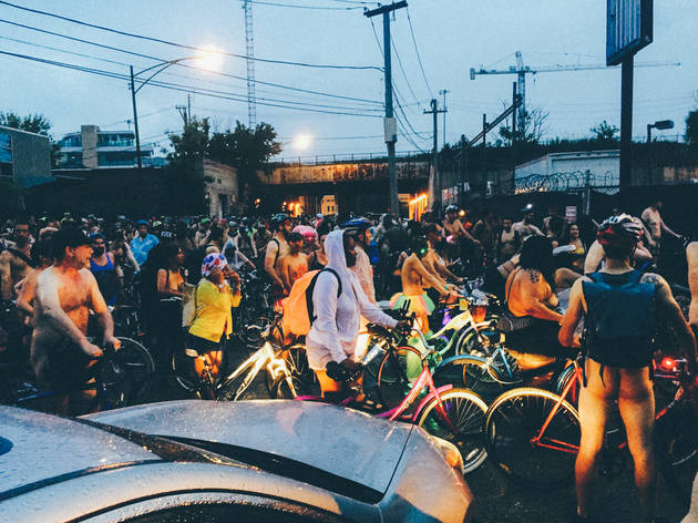 Stripped down cyclists streaked through Chicago's streets during the World Naked Bike Ride on June 13, 2015.