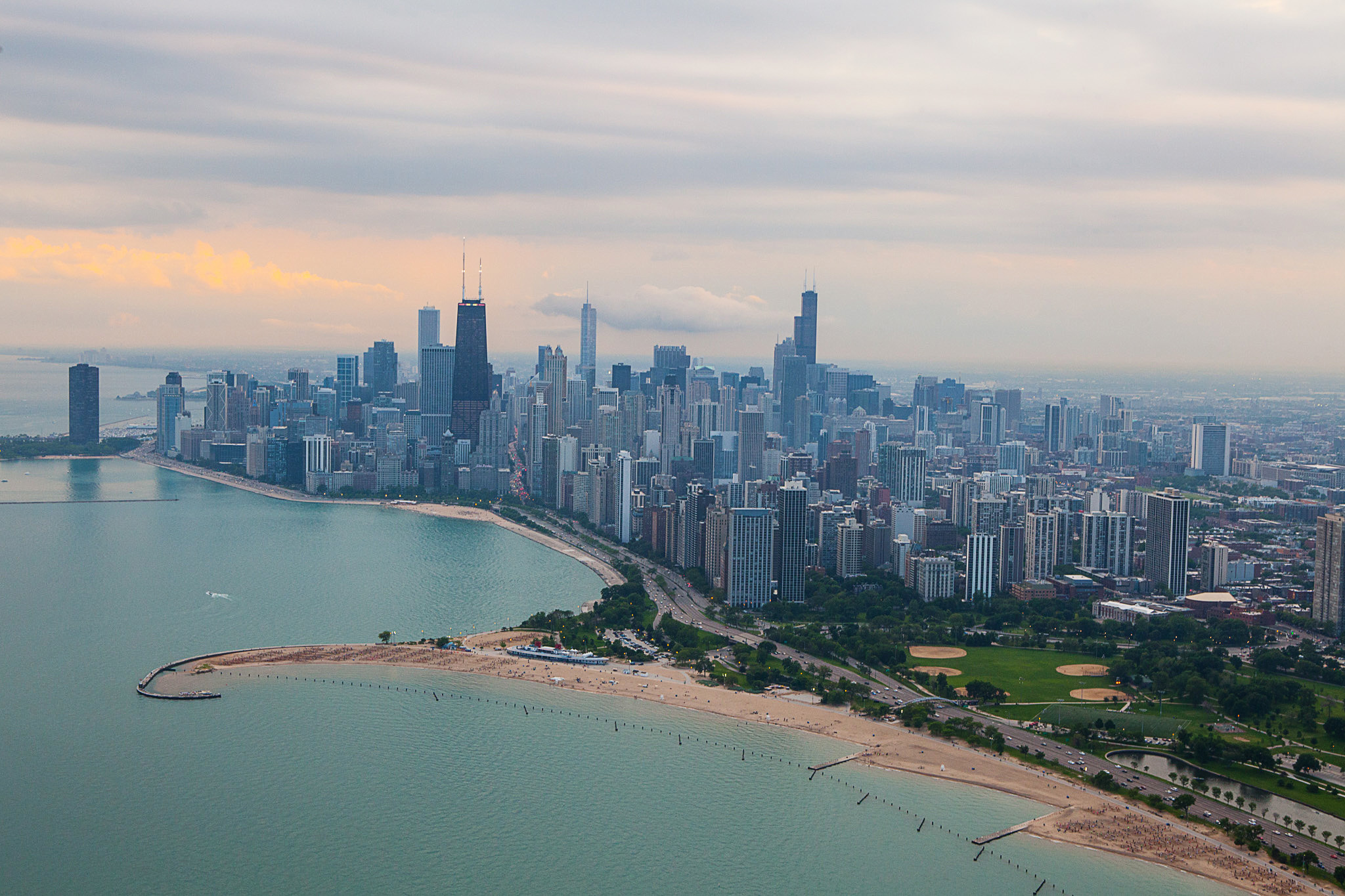 A helicopter tour of the Chicago skyline