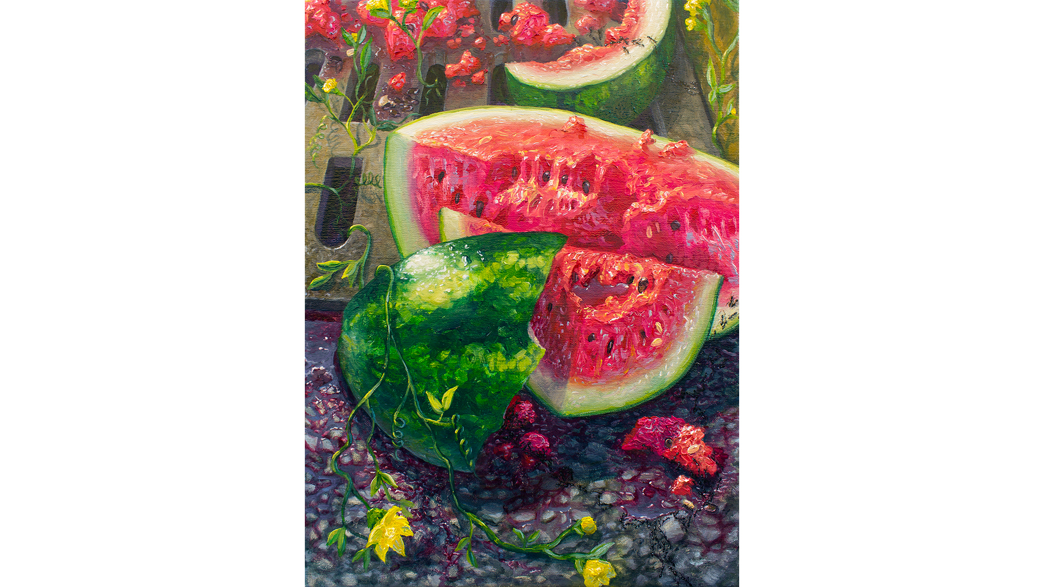 Watermelon growing in NYC streets. Oil on canvas, 14 x 11 inches