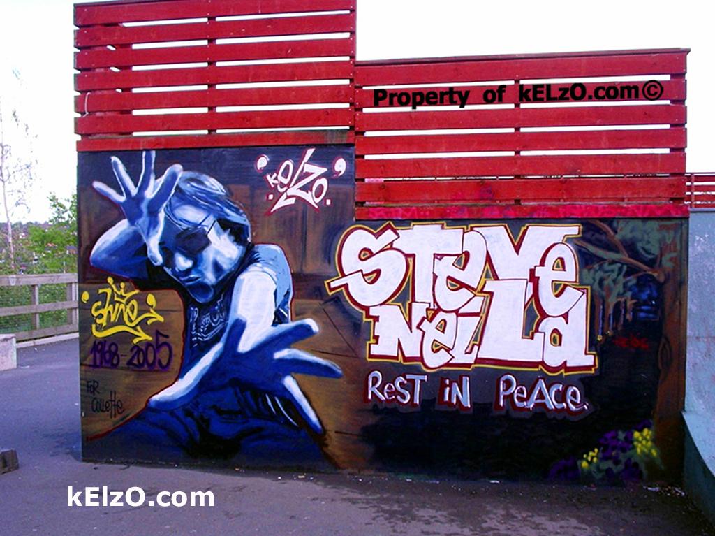 Steve 'Shine' Neild tribute wall, Radcliffe Skatepark, Manchester (2005)