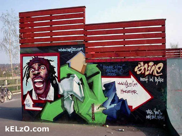 Busta Rhymes wall, Radcliffe Skatepark, Manchester (2005)