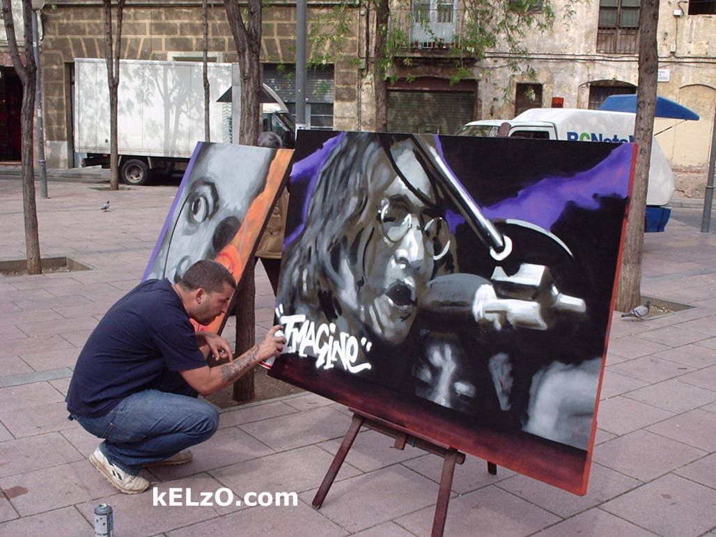 'Imagine' canvas painted in John Lennon Square, Barcelona, two days after the Madrid bomb (2004)
