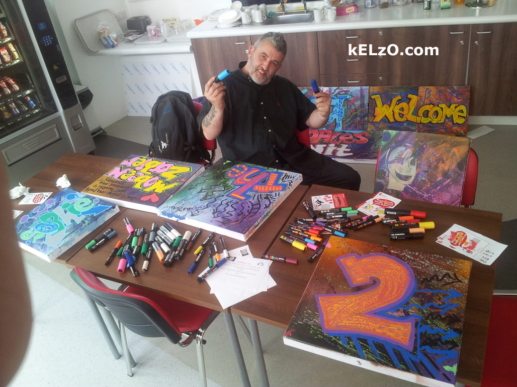 Kelzo art classes, Teenage Unit, Christie's Hospital, Manchester (2015)