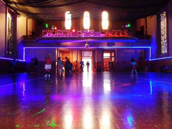 Roller skate in a church