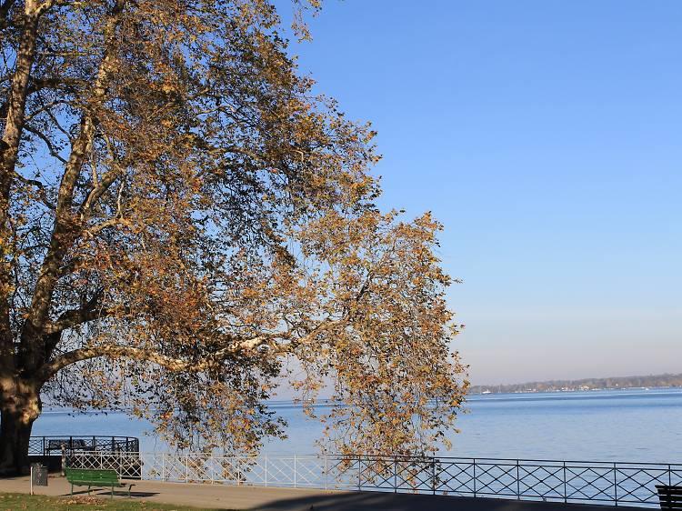 Hidden public beach near the Perle du Lac