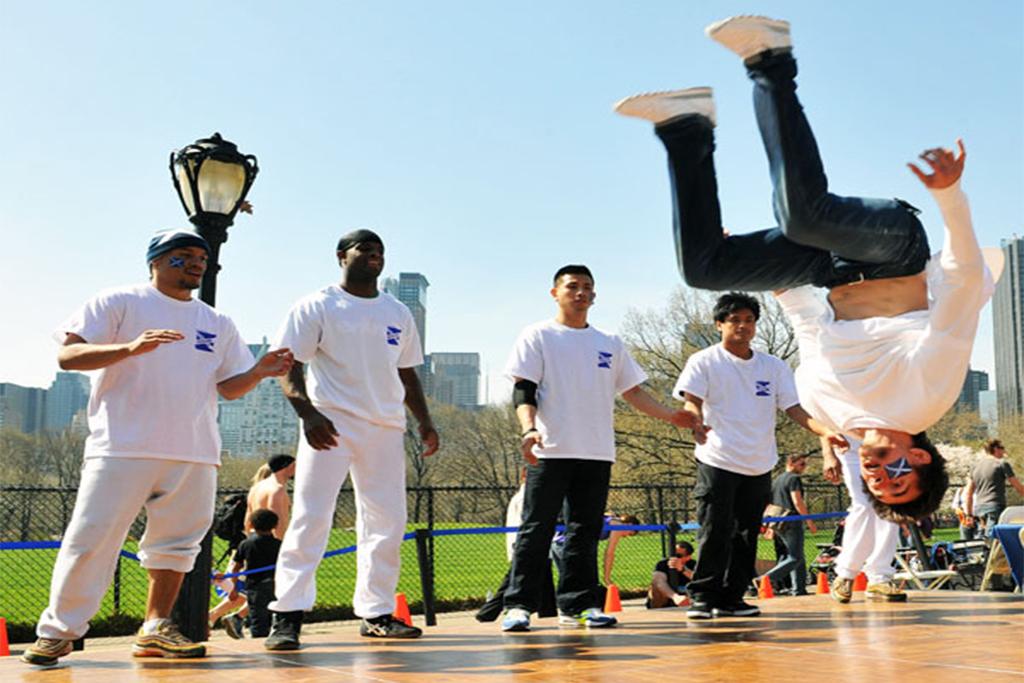 Learn fancy footwork from a breakdancing crew