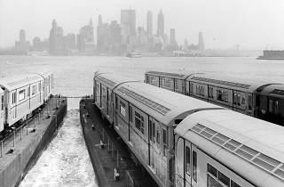 new subway cars being transported by barge to new york city, 1964. courtesy of new york transit museum.jpg