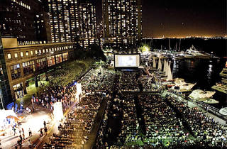 Tropfest Audience in foreground, Screen and buildings in backgro