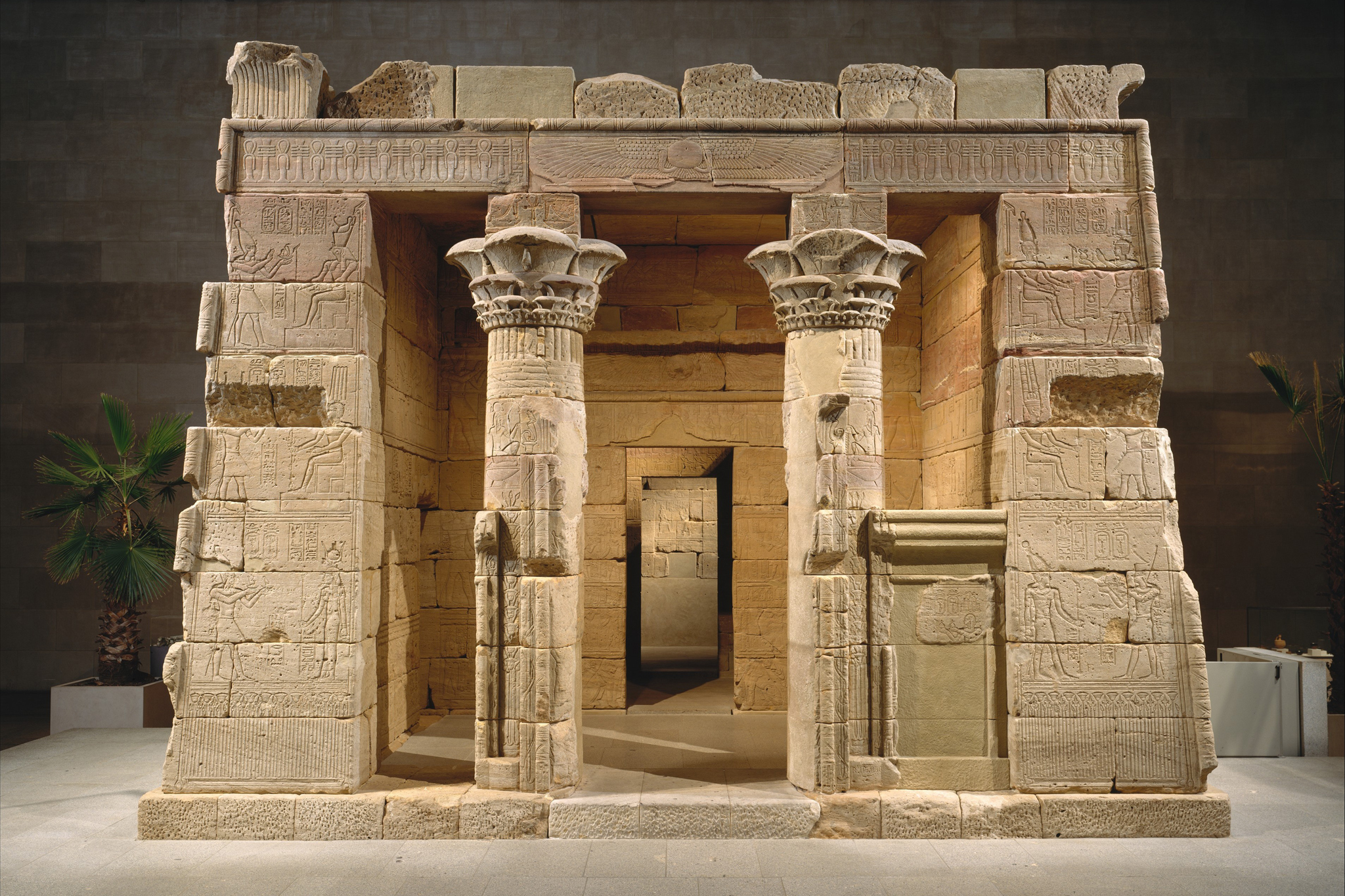The Metropolitan Museum of Art: The Temple of Dendur, Medium: Aeolian Sandstone. Dimensions: L. from gate to rear of temple 24 m 60 cm (82 ft.)...