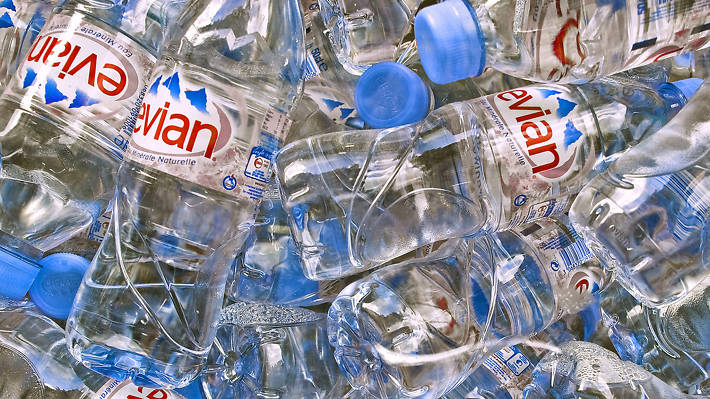 Evian bottles of water