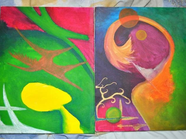 Pintando a dúo padres e hijos