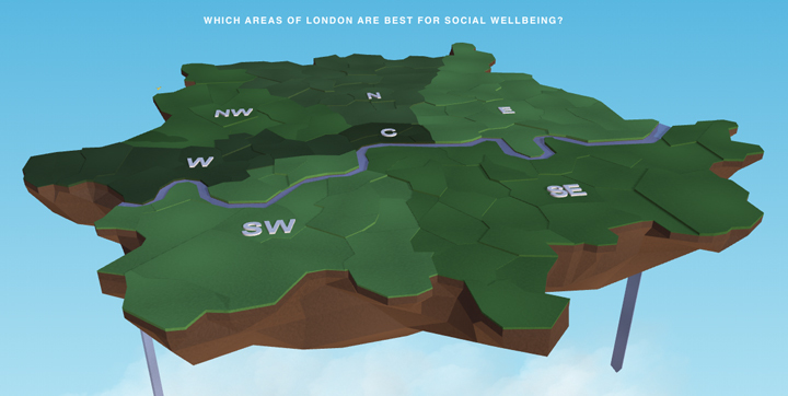 The happy forecast: this map plots the gladdest and glummest postcodes in London