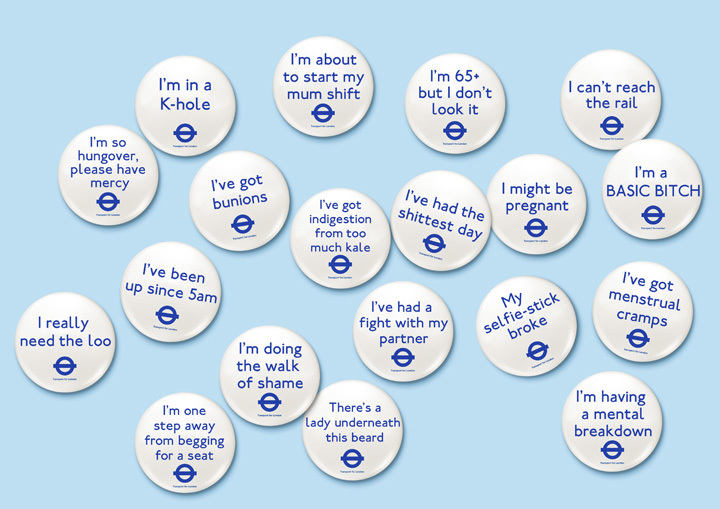 'I'm so hungover, please have mercy': alternative 'baby on board' tube badges