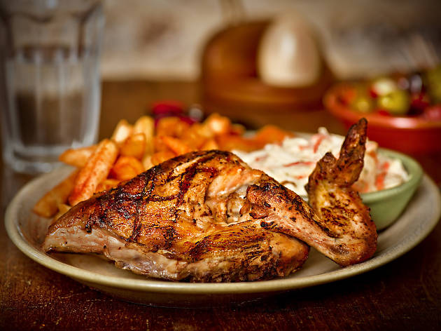 Nando's serves peri-peri grilled chicken.