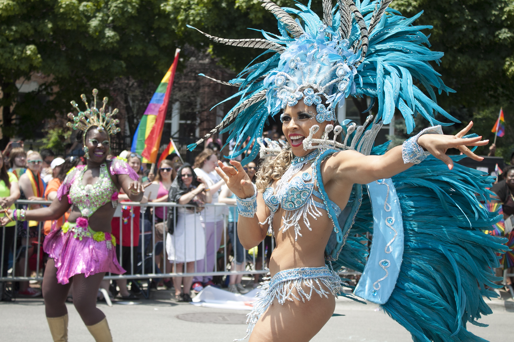 Members of the LGBT community and their friends gathered under sunny skies for the 46th annual Pride Parade.