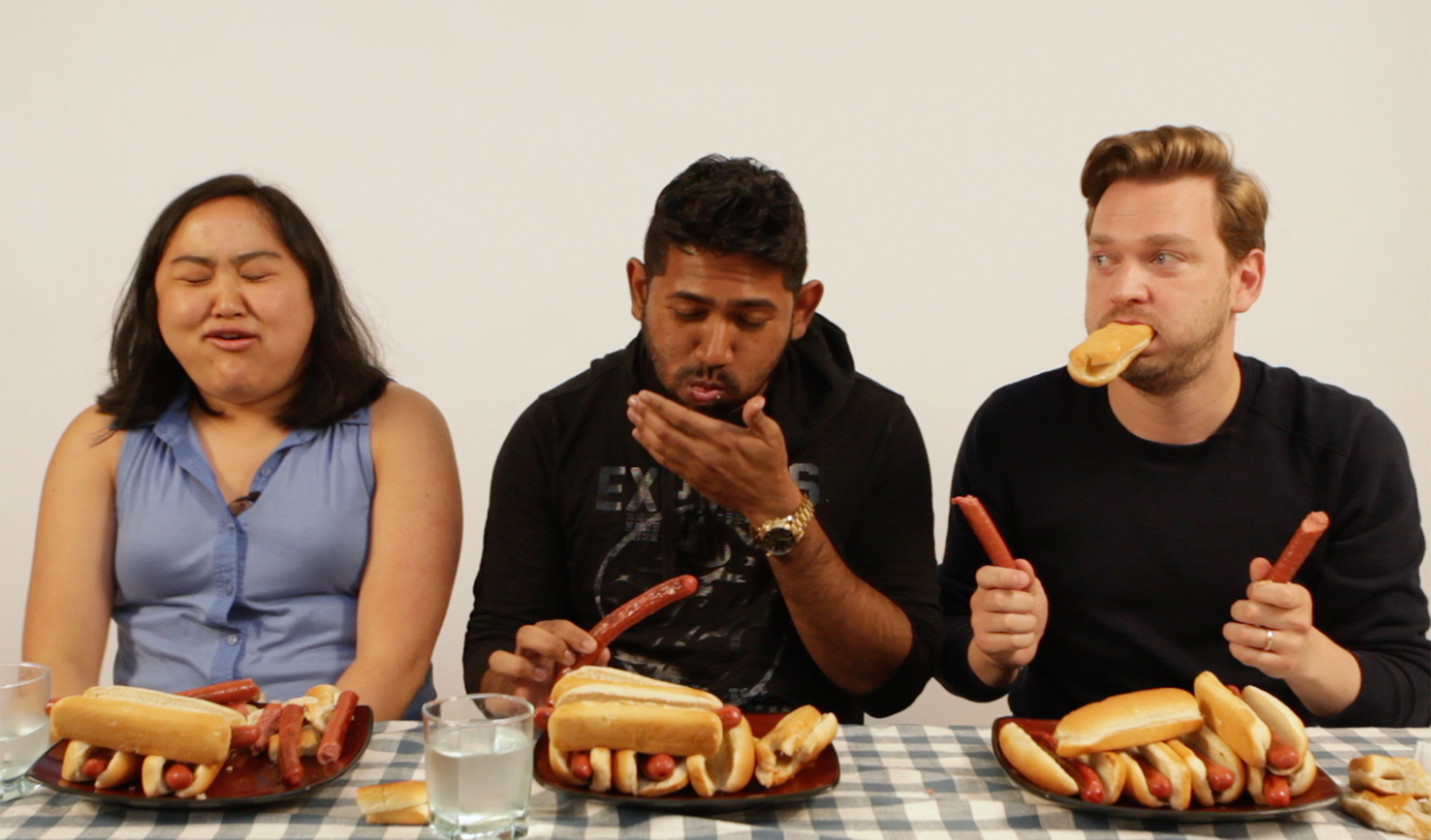 Watch the one-minute hot dog eating challenge