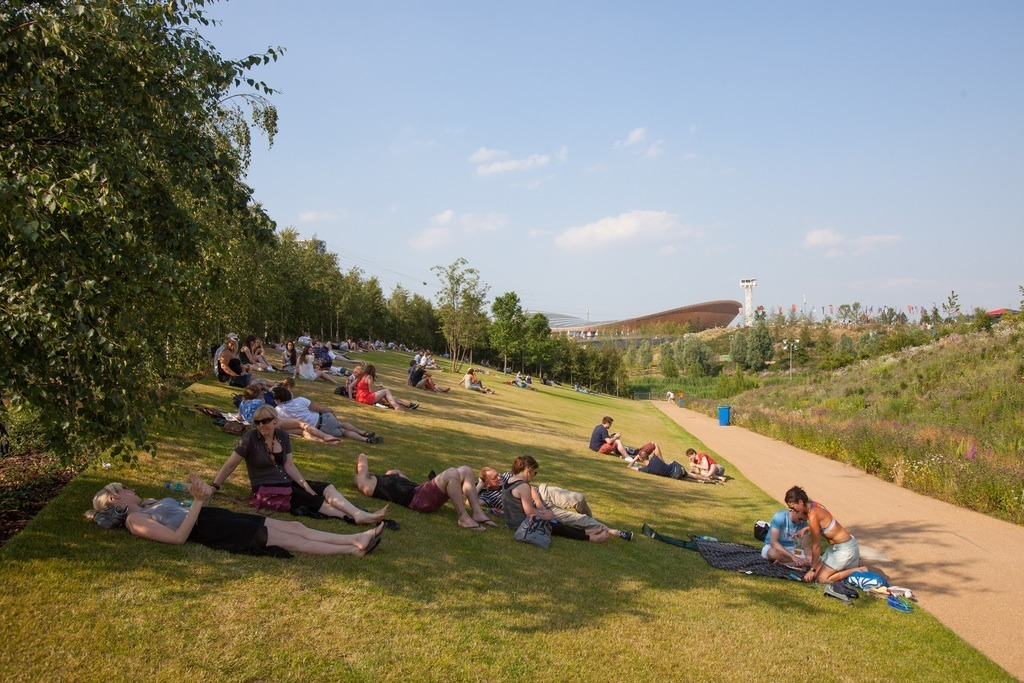 Sunbathing at Queen Elizabeth Olympic Park