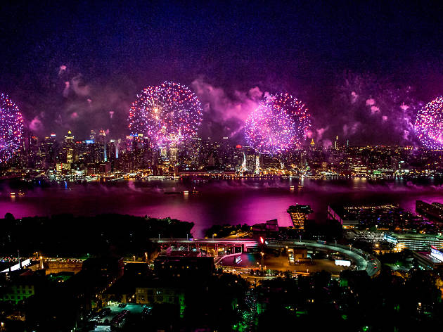 New York celebrates the 4th of July with the old red, white and...pink