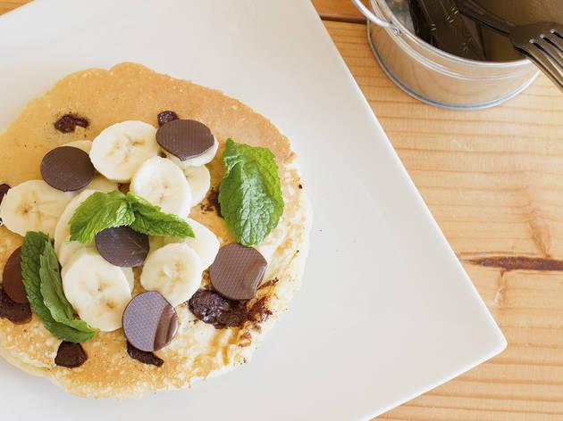 TCHO chocolate chip and banana pancakes at Jist Cafe