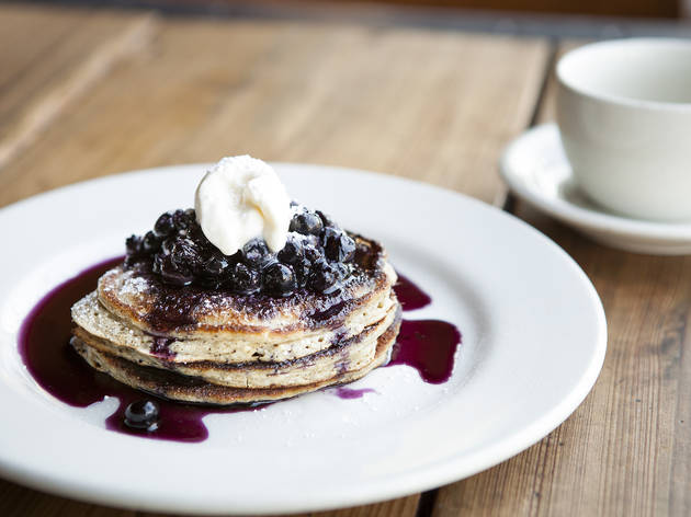 Lemon buckwheat ricotta pancakes at Gjelina, Los Angeles, CA