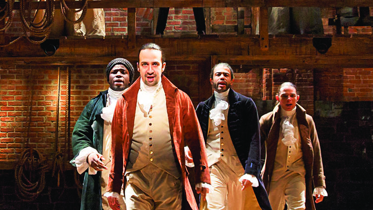 Lin-Manuel Miranda, center, resolves to keep changing the game in Hamilton