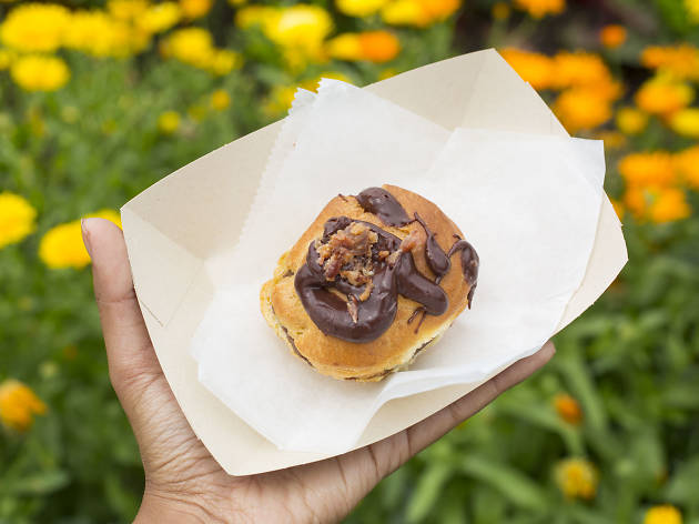 Chocolate-Covered Bacon Puff from Puffs of Doom Pop-Up