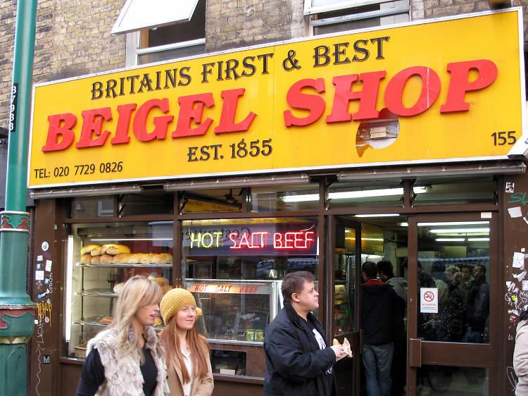 Snack on a rainbow bagel at Beigel Shop