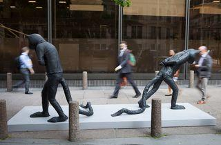 (Days of Judgement - Cats 1&2 by Laura Ford. Located at 150 Leadenhall Street, copyright the artist, courtesy of New Art Centre. Photo: Nick Turpin)
