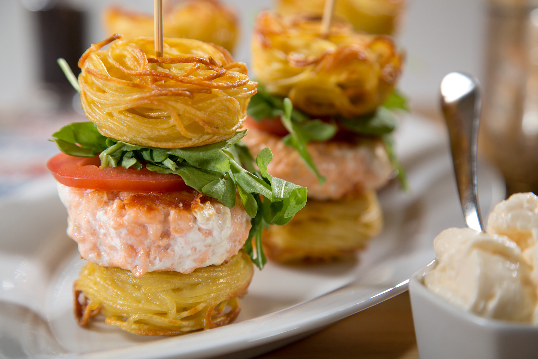 Spaghetti Salmon Sliders