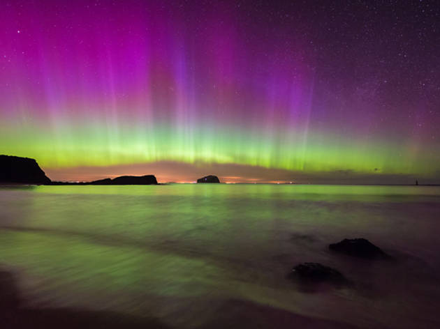3 norther lights, aurora borealis, sea, coast
