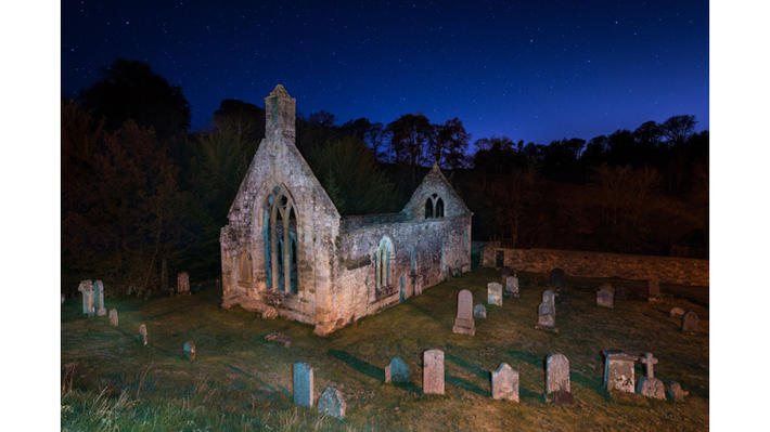 30 cemetery church ruins night graveyard