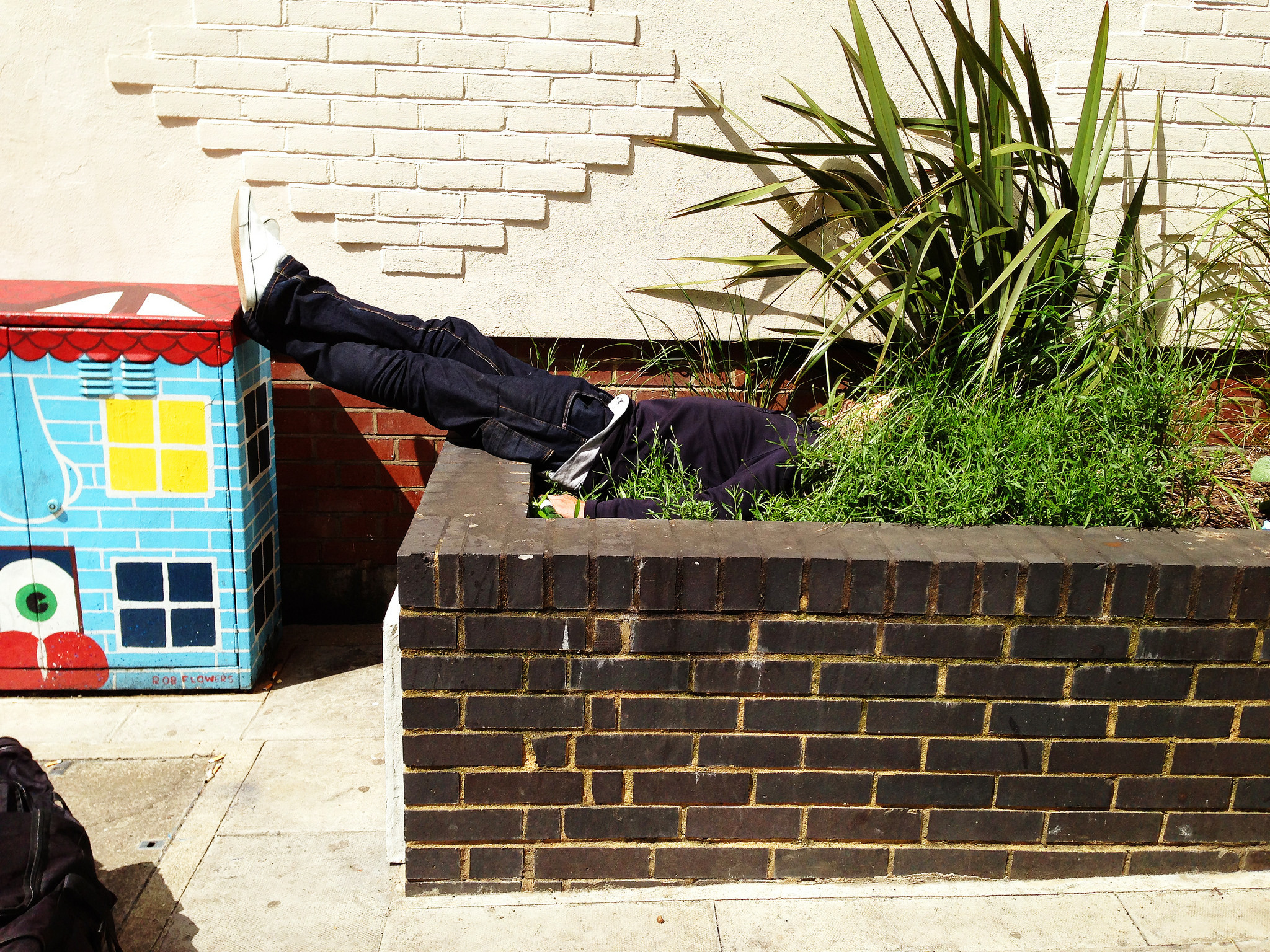 A man planking in some plants.