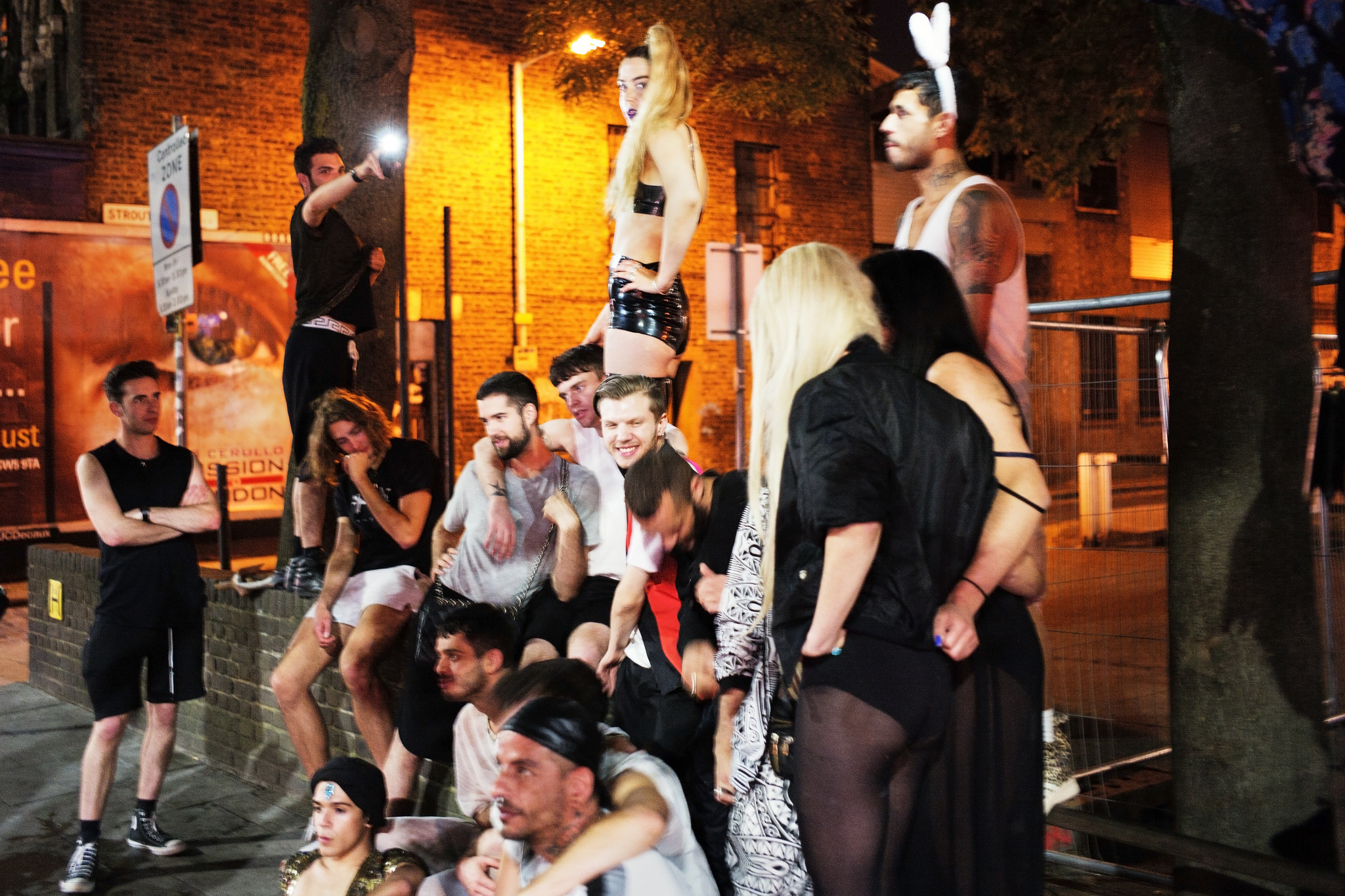 Revellers congregate in east London.