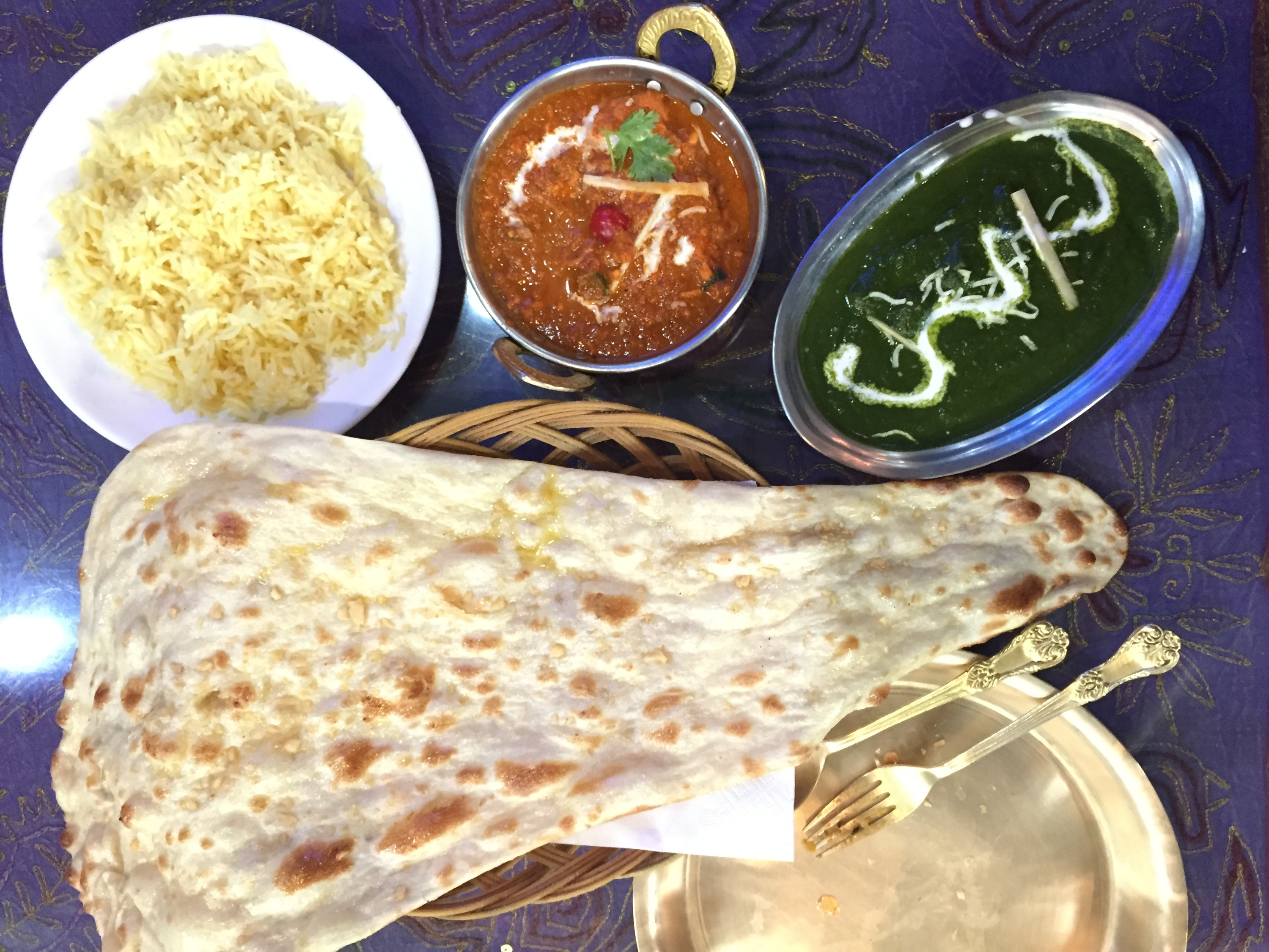 Palak paneer and masala at Everest