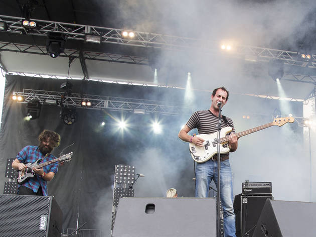 Viet Cong played to a sold out crowd under stormy skies on Sunday at Pitchfork Music Festival, July 19, 2015.