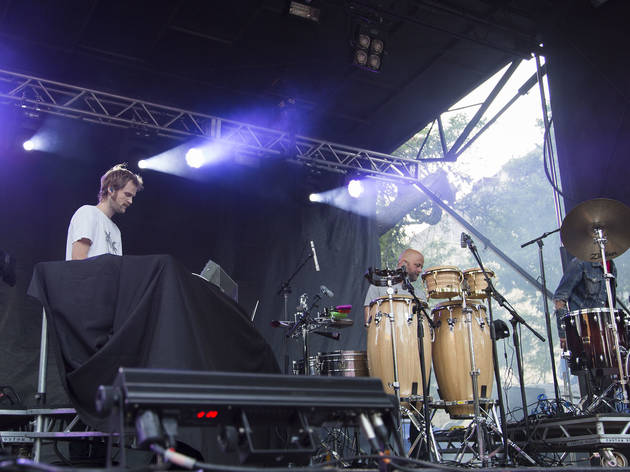 Todd Terje & the Olsens played to a sold out crowd under stormy skies on Sunday at Pitchfork Music Festival, July 19, 2015.