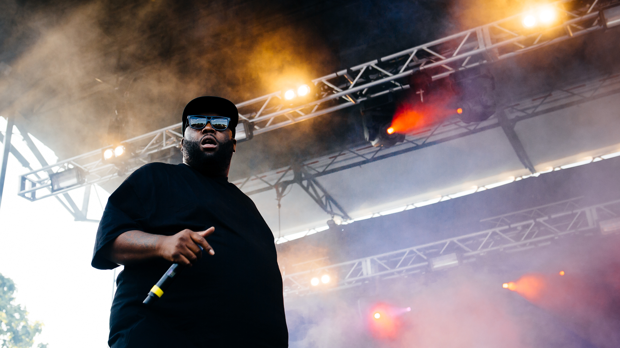 Run The Jewels played to a sold out crowd under stormy skies on Sunday at Pitchfork Music Festival, July 19, 2015.