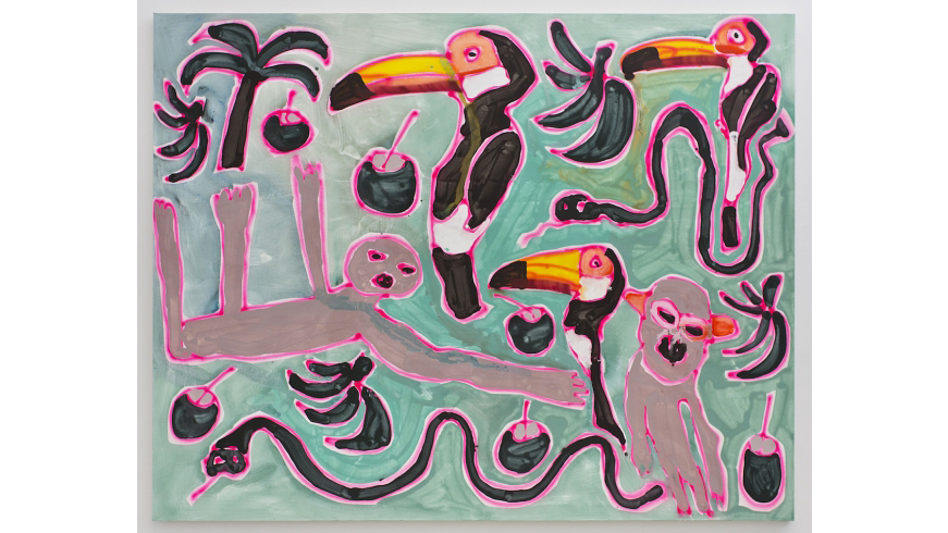Katherine Bernhardt, Jungle with Sloth, 2015