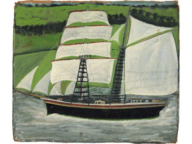 (Alfred Wallis: 'Brigantine sailing past green fields', undated. Courtesy of Kettle's Yard, University of Cambridge)