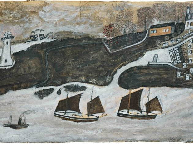 (Alfred Wallis: 'Two ships and steamer sailing past a port - Falmouth and St Anthony lighthouse', c1931. Courtesy of Kettle's Yard, University of Cambridge)