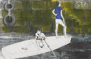 Charles Avery Untitled (Two Guys in Boat Approaching Quayside)