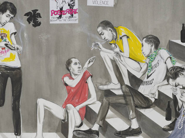 Charles Avery Untitled (Youths Smoking on Steps), 2014